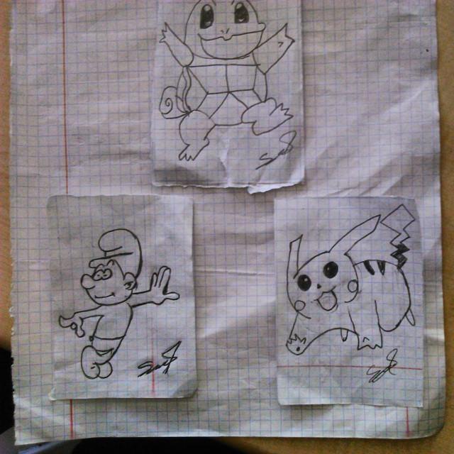 Pikachu, Balbazar ve Şirin Çizimi