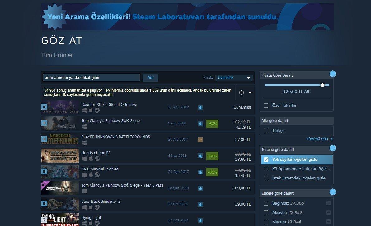 Steam, Yeni Arama Özelliğini Duyurdu
