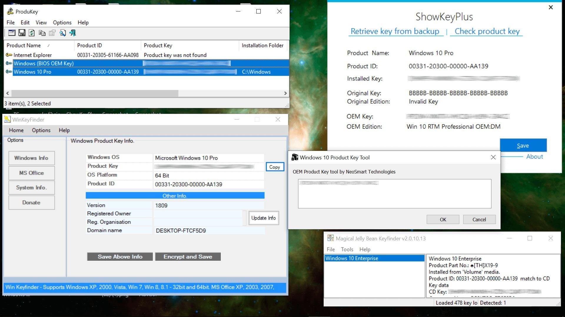 Windows Anahtarlarını Bulan Üçüncü Taraf Uygulamalar